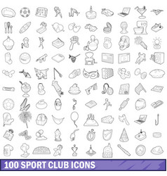 100 sport club icons set outline style vector