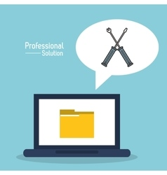 Laptop file and screwdriver icon proffesional vector