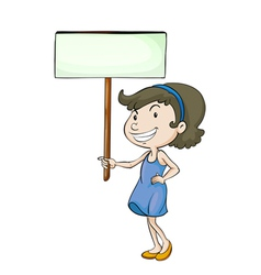 A girl with sign board vector