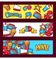Cinema and 3d movie advertising banners in cartoon vector
