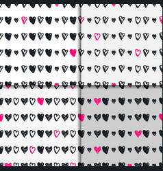 Doodle seamless pattern set with hearts vector