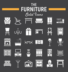 Furniture solid icon set interior sign collection vector