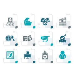 Stylized business management and office icons vector