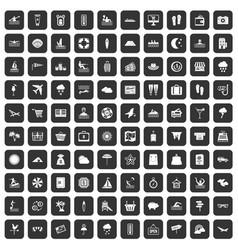 100 seaside resort icons set black vector