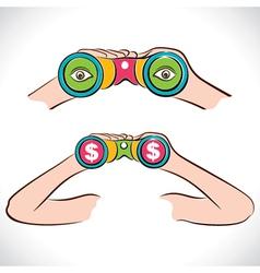 two design of binocular dollar and eye show in len vector image