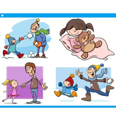 Childhood cartoon set vector