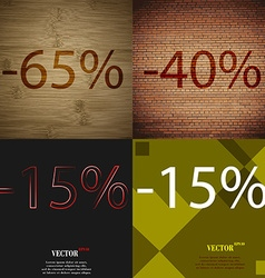 40 15 icon set of percent discount on abstract vector