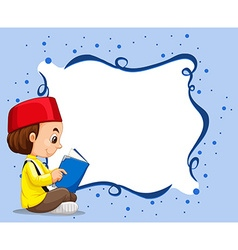 Empty border with muslim boy reading background vector