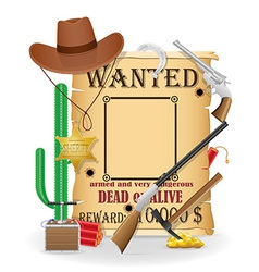 Cowboy wild west concept icons vector