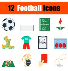 Flat design football icon set vector