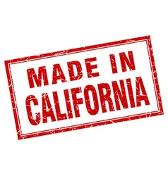 California red square grunge made in stamp vector