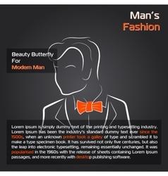 Man with orange bow tie on black vector image