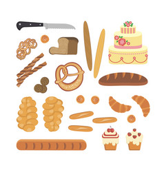 Bakery foodstuffs set vector