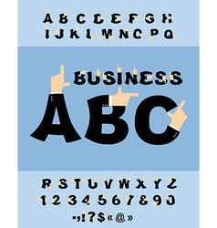 Business hand font pointing finger alphabet vector