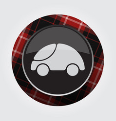 button with red black tartan - cute rounded car vector image vector image