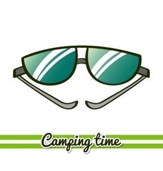 Camping equipment sunglasses vector