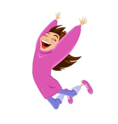 Cartoon happy jumping girl vector image vector image