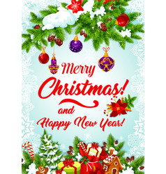 Christmas tree garland for new year greeting card vector