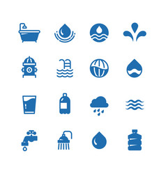 clean water silhouette icons aqua vector image
