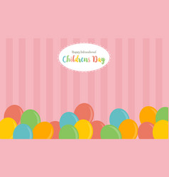Colorful balloon background childrens day vector