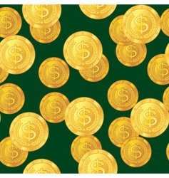 dollar coins background vector image vector image