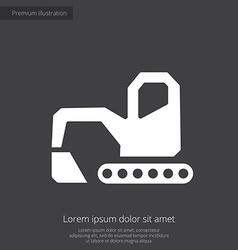 Excavator premium icon white on dark background vector