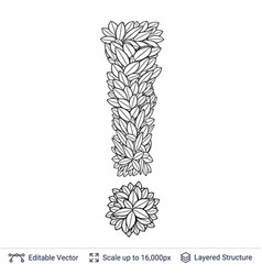 Exclamation sign of white leaves vector