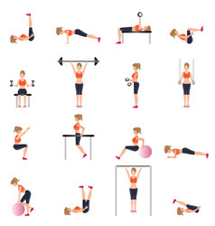 fitness cardio exercise and equipment for woman vector image vector image
