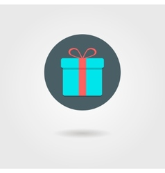 gift box in the circle with shadow vector image vector image