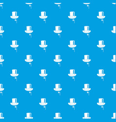 Hat with monocle pattern seamless blue vector
