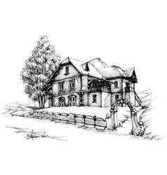 Holiday house sketch vector image