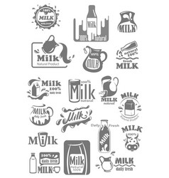 icons and labels for milk dairy products vector image