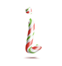 letter i 3d realistic candy cane alphabet vector image vector image