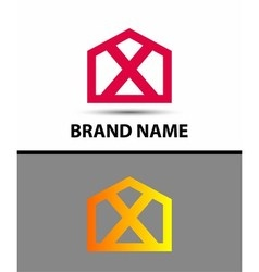 Letter X logo symbol house home real icon vector image vector image