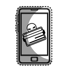 Monochrome contour sticker with stealing credit vector