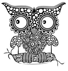 Owl zentagle black white black-white eye des vector