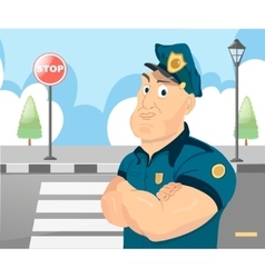 Policeman officer on city background vector image