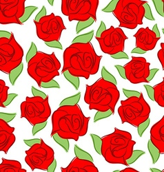 Red rose seamless pattern Texture flower Floral vector image