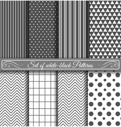 Set of black white Pattern vector image
