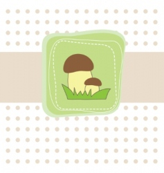 simple card with mushroom illustration vector image vector image