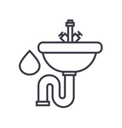 sink line icon sign on vector image