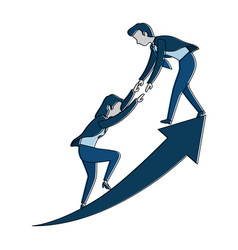 successful business couple with arrow up vector image