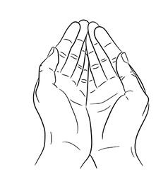 Two open empty hands asking gesture vector