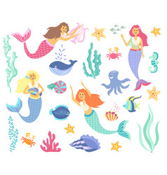 Underwater life collection mermaid sea animals vector