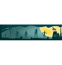 Zombie silhouettes on moonlight vector