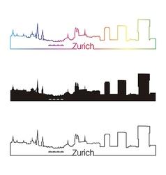 Zurich skyline linear style with rainbow vector
