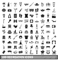 100 recreation icons set simple style vector