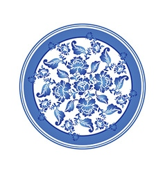 Gzhel Russian national pattern Retro Floral vector image