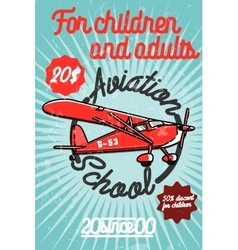 Color vintage aviation poster vector