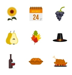 Gratitude celebration icons set flat style vector